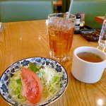 17357984 - ランチセットのミニサラダ、コンソメスープ、ドリンク(ウーロン茶)