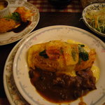 レストラン とまと - レディースセット「3点盛り合わせ」&オムライス(牛筋のデミグラスソース)&サラダ