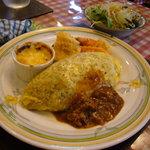 レストラン とまと - オムライスランチ(3点盛り合わせ付)&サラダ
