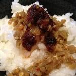 赤麺 梵天丸 - 搾菜ラー油掛けご飯(^-^)/