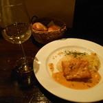 メリメロ - スズキのソテー フレッシュハーブとトマトの 白ワインソース ニンジンライスと野菜のプレゼ