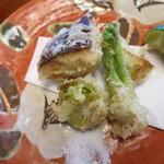 き八 - 野菜天麩羅二種盛り:蕗の薹(2個あったのですが1個食べちゃった(^^;)、タラの芽、ツボミナ、原木椎茸