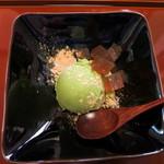 き八 - 甘味:抹茶アイスクリーム黒蜜寒天添え
