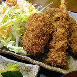 まるいち亭 - 夜のおすすめメニュー、ひれかつ小・エビフライ・エビクリームコロッケ・ご飯・みそ汁で 1350円