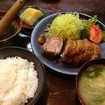 17389136 - 豚カツ ヒレ 1300円 + ご飯味噌汁セット300円