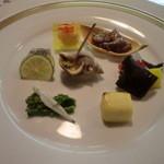 17400028 - 前菜:菜花昆布締め、チーズ西京焼き他