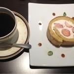珈琲 遇暖 - ブレンド、和三蜜のロールケーキ