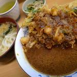 天重 本店 - 辛口カレーかき揚げ丼(650円)+ミニうどん(セット価格350円)