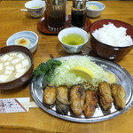 とんかつ 万平 - カキバター焼き定食1600円
