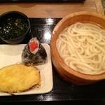 17426535 - 釜揚げうどん・さつま芋の天ぷら・明太子おむすび