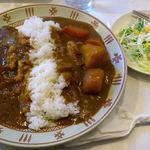 """マム - Curry Shop Mamm @本蓮沼 チキンカレーと野菜カレーの """"コンビカレー 700円"""" + """"ミニサラダ 50円"""""""