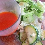 1747493 - [パプリカとトマトのスープ]と[ズッキーニのツナ和え]と[グリーンサラダ]