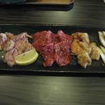しんか - 料理写真:焼肉(和牛ホルモン・ロース・鶏せせり・えりんぎ)
