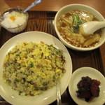 miyamahanten - 美山飯店 高菜叉焼チャーハンとワンタン