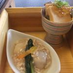 和平おもてなし館 - あん肝寄せポン酢ジュレ 里芋の鶏そぼろ餡かけ