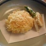 蕎麦 坐忘 - かき揚げとサツマイモ、山芋、菜物