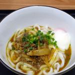 tenukiudommarushin - 肉玉ぶっかけカレーうどん550円(肉ごぼう煮)