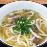 てぬきうどん まるしん - てぬきランチのうどん麺(肉ごぼう煮)
