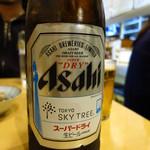 かどや - ビンビール(中)450円 スカイツリーラベル!!