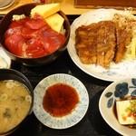 食事処かじめ - おすすめ!ミニづけ丼とまぐろカツ定食(1,300円)