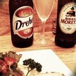ドマーニ - イタリアンビール(モレッティ+ドレハー)の2本セットで1000円+本日のおつまみ(500円)