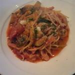 17554541 - ベーコンとカポナータのトマトパスタ
