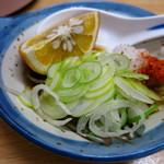 常盤木 - ふぐ豆腐2000円 備え付けのポン酢ダレ