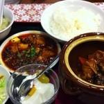 珍味館 - ランチ壺料理セット、豚バラ人参ウズラ卵、950円