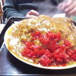 北野食堂 - カレー(大盛り、福神漬けの量も半端ないっ)