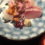 日本料理雲海 - 【春の祝い会席】刺身 祝い魚三種盛り 紅白立ち剣。