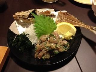 寿司居酒屋のぼる - 活あじのなめろう(580円)2013年2月