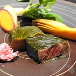はせ茂 - 岩手牛サクラ風味塩釜焼 (2013年3月)