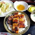 志げ家 - うな丼+単品の天ぷら盛り