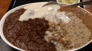 肥後橋南蛮亭 - チキンカレーに週替り(レンズ豆とチキンキーマ)のWカレー