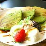 コラソンカフェ - 季節のパンケーキ・抹茶¥680