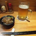小料理おちゃめ - 生ビールと突出し