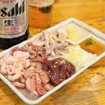 馬力 - 2013.2 生ホルモン刺盛(619円)豚のレバー、タン、ハツ、ガツ、コブクロ