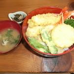 かましま - 海老天丼1500円 野菜サラダも付きます☆