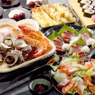 新鮮魚貝を産地直送2H飲み放題付コース3000円~(税込)