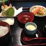 ふくふく亭 - いか活造り定食1,575円。天ぷらやサラダ、茶碗蒸しなどがセットです☆(第三回投稿分⑥)