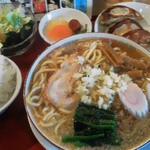 17686856 - 130221新潟 大むら食堂 Aセット(半ラーメン、餃子、ライス、サラダ、お新香)