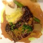 17709303 - 牛ランプ肉のステーキ  こちらも味噌味のソース