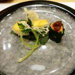 北海うまいもの処 庄や - 前菜:鮟肝法蓮草巻・三ッ葉白扇揚げ筍の握り