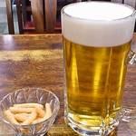 吉田屋 - 生ビール中。実際は大(笑)