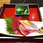 海鮮の國 波奈 - 西京焼き定食のお造り
