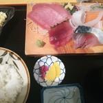 17730256 - 刺し身定食(マグロなど5点盛り) ¥880