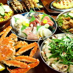 駒八 - 料理写真:一番人気はタラバガニ&もつ鍋のコース