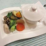 Bistro R - おいも豚と林檎のシチュー カルバドスの香り。野菜はコンソメの煮浸し