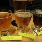 17749718 - まずは「地ビールテイスティングセット」なるものをオーダー。                         メニューのなかから3種どれでもすきなものを選べて、それぞれ少量サイズで供してくださいます。