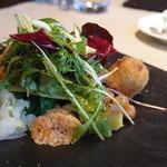 17761124 - 旬野菜と八頭とズワイガニのクロケットのサラダ